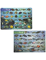 Painless Learning Educational Placemats For Kids Fresh Water Fish and Salt Water Fish Set Of 2 Non Slip Washable