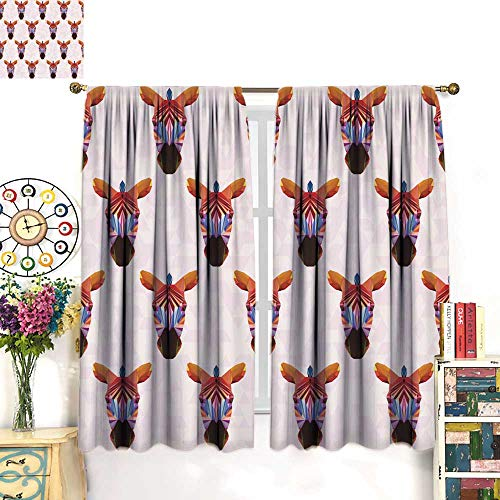 longbuyer Black Out Window curtainBright Rainbow Colored Polygonal Zebra Pattern Background Drapes Panels W96 x L72