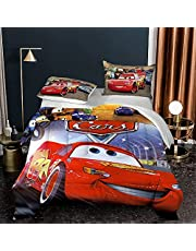 BWE Home 3 Piece Kids Racing Cars Comforter Set - Lightning McQueen Bedding Set for Girls Boys Toddler Soft Fade Resistant Microfiber Comforter Quilt Bed Set with 2 Pillowcase