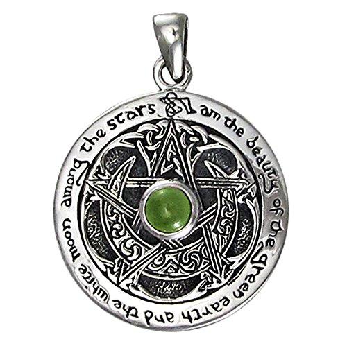 Sterling Silver Moldavite Moon Goddess Pentacle Pendant