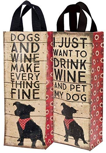- Nylon Two-Sided Dog Theme Wine Bag - Drink Wine, Pet My Dog - One Tote