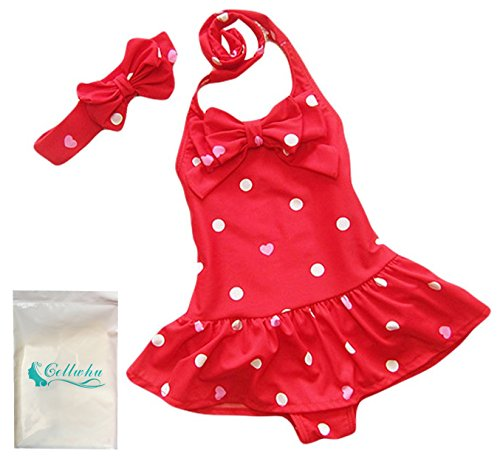 Gellwhu Baby Toddler Girls Onepiece Swimsuit Bowknot Dots Swimwear With Headbands (XL (6-7 Years), Red)
