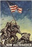 7th War Loan Bonds Iwo Jima Soldiers with Flag WWII War Propaganda Art Print Poster 13 x 19in