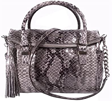 4adeb9124e2c Amazon.com  Michael Kors New Handbag Weston Snake Print Bag Satchel Gray  Grey Leather Slate  Shoes