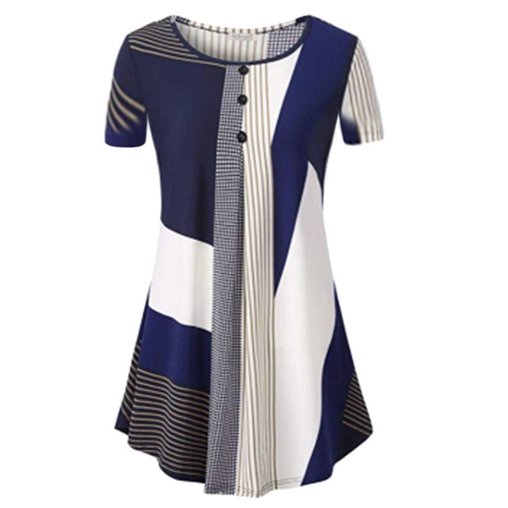 Women Short Sleeve Tops Casual Blouse Irregular Streak T-Shirt Shirt for Ladies Basic Vest Tee Shirts Blue