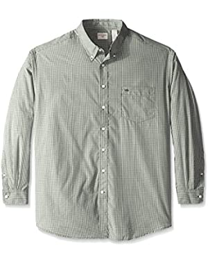 Men's Big-Tall Long Sleeve Button Down Collar Unsolid Solid Shirt