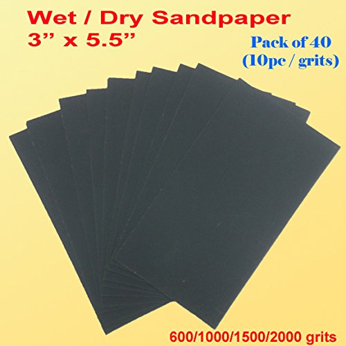 Pack of 40 3'' X 5.5'' Wet Dry Sandpaper Sanding Paper Abrasive Assorted Grits 600/1000/1500/2000 Grit Finishing , Auto Body , Sand Paper