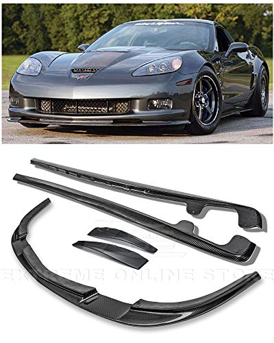 For 2005-2013 Chevrolet Corvette C6 Wide Body Models | EOS ZR1 Style CARBON FIBER Front Bumper Lower Lip Splitter With Side Skirt Rocker Panels Mud Flaps Pair