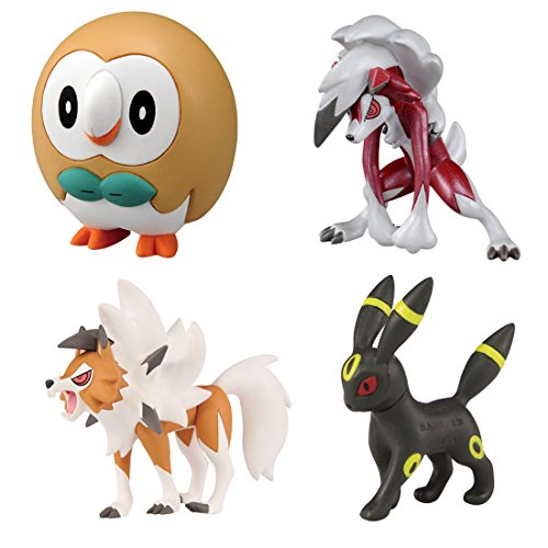 Pokemon Monster Collection EX Ash Ketchum VS Gladion Battle Set Rowlet [New Pose] - Umbreon - Lycanroc [Midnight Form and Dusk Form]
