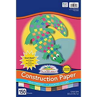 "SunWorks 6526 Construction Paper, 11 Assorted Colors, 12"" x 18"", 150 Sheets"