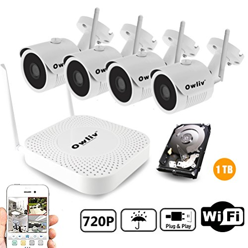 OWLIV 720P 1.0MP + 1TB Hard Disk Smart WIFI IP Camera System 4CH Kit Indoor/Outdoor Waterproof Night Vision HD Wireless Video Surveillance With 1TB Hard Drive by Owliv
