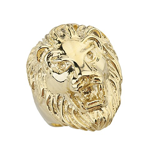 (Fine Roaring Lion's Head Ring in Solid 10k Yellow Gold (Size 10))
