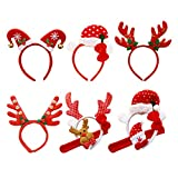 stobok christmas headbands cute xmas hair bands headwear for christmas party,pack of 6
