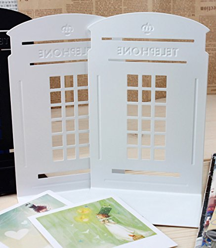 1pair Telephone Booth Non-Slip Iron Bookends, Novelty Bookend As Book Stand for Home and Office (White) Purple Engineering Arch
