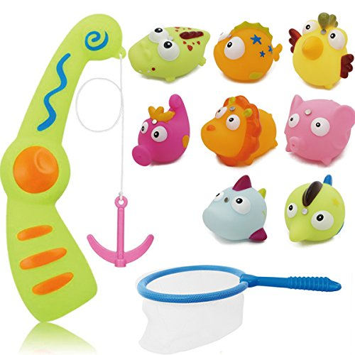 Haiyue Fishing Bath Toys, 10Pack Colorful Magnetic Floating Animals Water Toy with Bathtime Bathtub Swimming Toy for Kids Toddler Baby by Haiyue