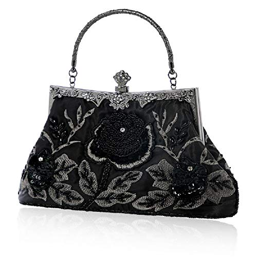 Elegant Glitter Wedding Pearl ZHRUI Package Black Shoulder Handbag Exquisite Bag Black Women Color Evening Bag Bag Retro Clutch Evening qq85PYw