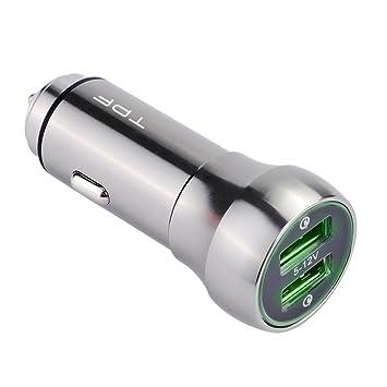 Cargador de coche 4.8 a/24 W Dual USB adaptador de coche para Smartphones Tablets y más (gris) ...: Amazon.es: Electrónica