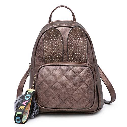 Girls Rabbit Ear Cute Mini Leather Backpack, XB Small Backpack Purse for Women Fashion Shoulder Bag (Bronze) by XB HANDBAG