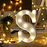 LED Marquee Letter Lights, Jiayit Alphabet LED Letter Lights Light Up White Plastic Letters Standing Hanging, Perfect for Events or Home Décor (S)