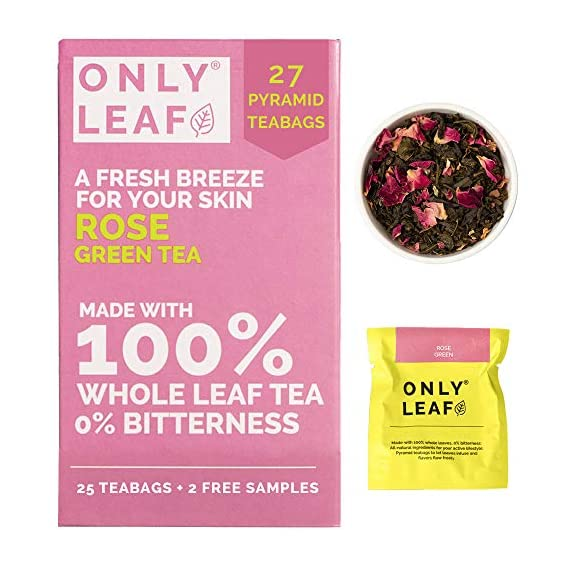 ONLYLEAF Rose Green Tea For Glowing Skin, Made with 100% Whole Leaf & Natural Rose Petals, 27 Pyramid Tea Bags (25 Tea Bags + 2 Free Samples)