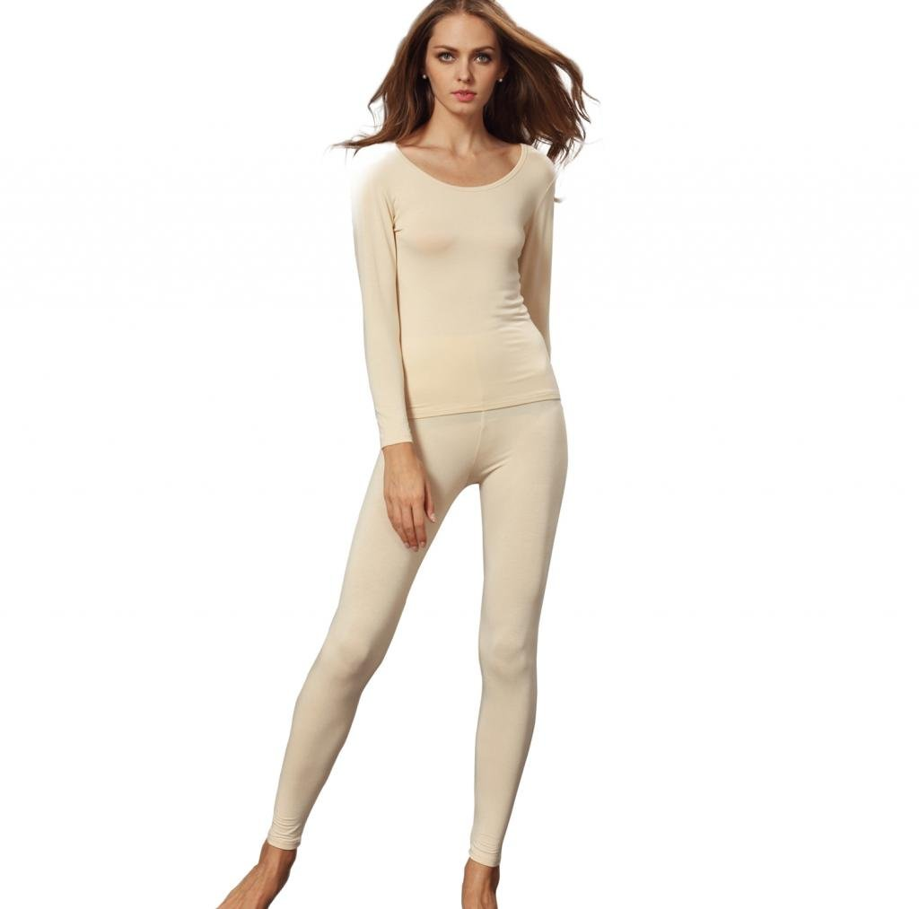Liang Rou Women's Scoop Neck Long Johns Ultra Thin Thermal Underwear Set Apricot S by Liang Rou