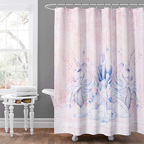 (MYSKY HOME - Unicorn Shower Curtain - Fairy Tale Cute Pony Digital Print Curtain Panel for Girls Bathroom - 71