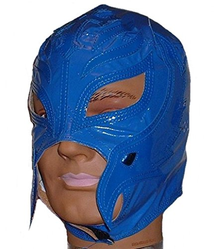 WWE REY MYSTERIO Kid Size Solid BLUE Replica MASK by Main Street 24/7