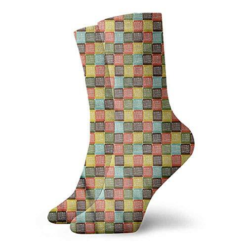 Women's Novelty Grunge Checkered Square Pattern Unisex Men's & Womens Socks -