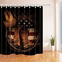 NYMB Western Hat Decor, American Flag with Cowboy Boots Rope, Polyester Fabric Waterproof Shower Curtains, 69X70 in, Shower Curtain Hooks Included (Multi4)