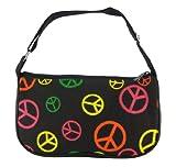Multicolor Peace Sign Nylon Mini Purse Handbag, Bags Central
