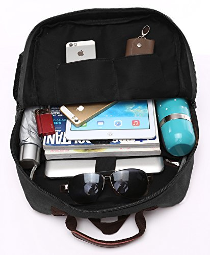 Canvas Backpack, Aidonger Vintage Canvas School Backpack Hiking Travel Rucksack Fits 14'' Laptop (Black-48) by Aidonger (Image #7)