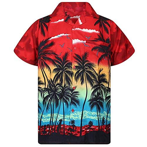 KINGOLDON Men's Hawaii Print Beach Short Sleeve Quick Dry Top Blouse Casual Button Shirt Red