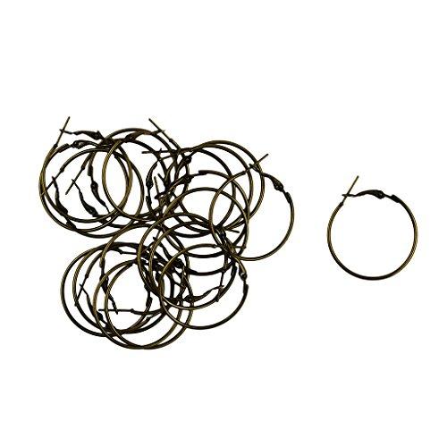 Jili Online 20pcs 30mm Round Hoop Loop Leverback Earring Making Findings - Bronze ()