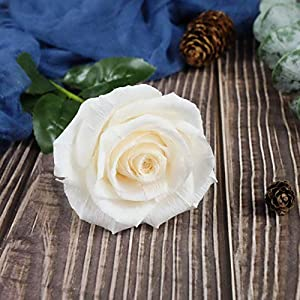 White Paper Rose Handmade Realistic Artificial Rose from Crepe Paper Perfect Paper Gift for Christmas,Wedding Anniversary, Valentine's Day, Mother's Days, Single Long Stem, 01 Flower 2