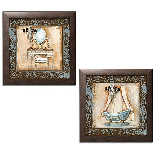 Print Framed Brown - Elegant Brown and Blue Clawfoot Tub and Vanity Set; Bathroom Decor; Two 12x12in Brown Framed Prints, Ready to Hang!