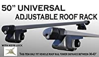 JDM 1 Set 50 inch Long Aluminum Roof Rack Top Railing Cross Bars Cargo Carrier Luggage w/ key locks [Measure Require]