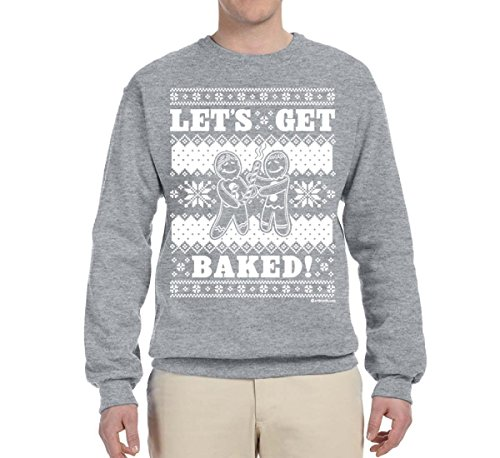 Wild Bobby Let's Get Baked | Holiday Ginger Bread Design | Mens Ugly Christmas Crewneck Graphic Sweatshirt, Heather Grey, Small
