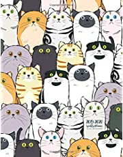 July 2019 - June 2020 Calendar: 2 Year Daily Weekly Monthly Calendar Planner For To Do List Academic Schedule Agenda Logbook Or Student And Teacher Organizer Journal Notebook, Appointment Business Planners With Holidays | Cartoon Cat Design