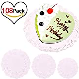 GeMoor 108 PCS Lace Paper Doilies Cake Packaging Pads, 10 Inch, 8 Inch and 6 Inch, White