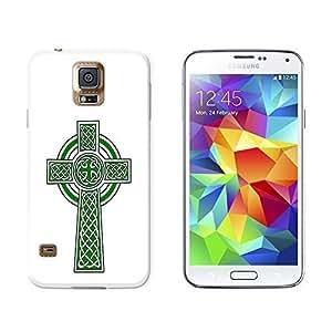 New Style Celtic Christian Cross - Irish Ireland Scotland Scottish - Green White - Snap On Hard Protective Case for Samsung Galaxy S5 - White