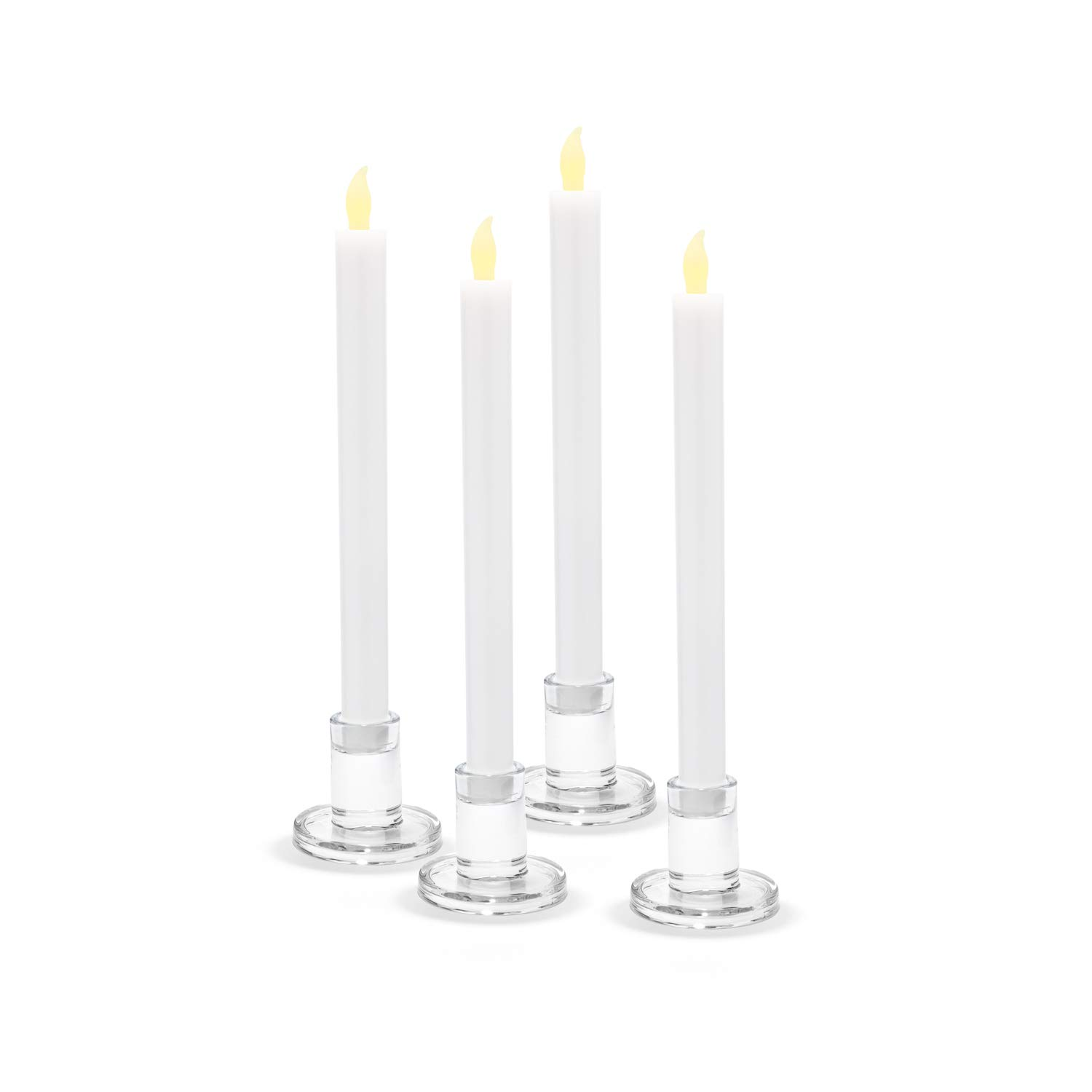 LampLust Clear Glass Candle Holders, Set of 4 - Round, 2.5'' Height, Fits All Standard Size Taper Candlesticks