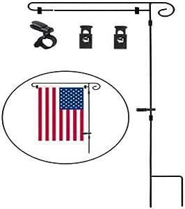 gaeruite Soporte de la Bandera del jardín, Soporte para el mástil de la Bandera del jardín con Clip Anti-Viento de la Bandera para la decoración del jardín de la Bandera de los