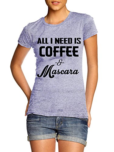 Juniors All I Need Is Coffee and Mascara Ladies Form Fit T-shirt,Grey,Large / Juniors Form Fit (Doll Baby Tee People)