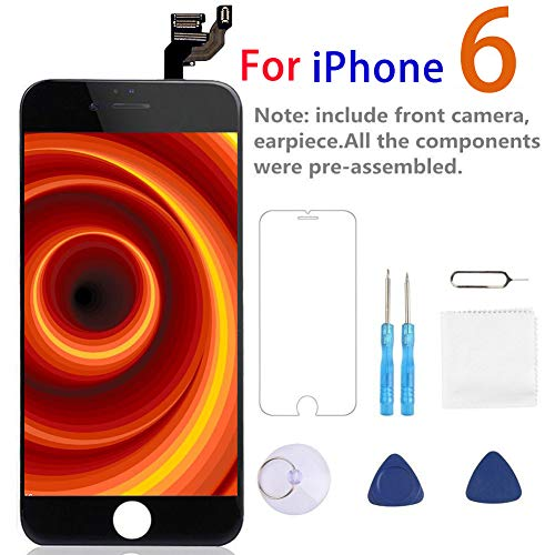 Screen Replacement for iPhone 6 Black - Giorefix Full Assembly LCD Touch Screen Display Digitizer Assembly Facing Proximity Sensor Ear Speaker Front Camera with Full Repair Tools and Screen Protector