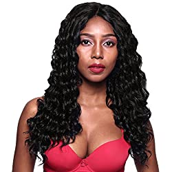 Gotta Synthetic Wig 20'' Curly Deep Wave Lace Front Heat Resistant Fiber Hair Full Extension Wig 150% Density Replacement Wig for Women, Jet Black