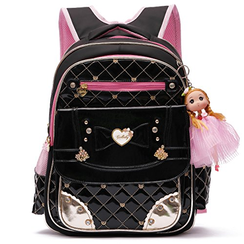 Diamante Leather - Ali Victory Waterproof PU Leather Kids Backpack Cute Princess School Bookbag for Primary Girls (Large, Black)