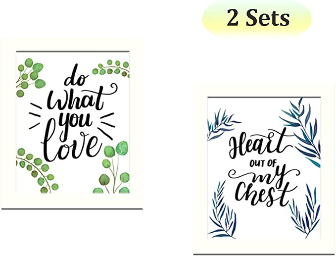 Bedroom CUNYA 4pc 8x10in Canvas Framed Wall Art Prints with Picture Frames Bathroom Decor DIY Wall decor Removable Inspirational Quotes Wallpaper Posters Home Decorations for Living Room