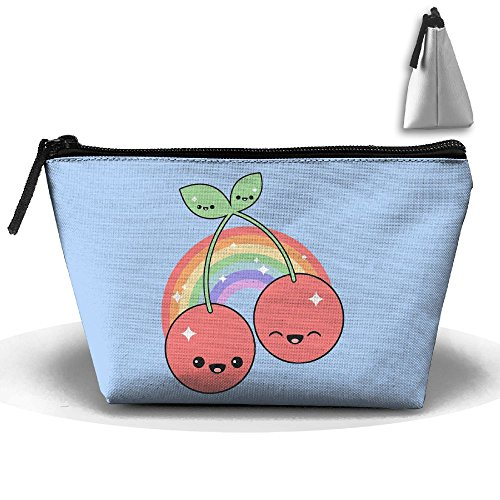 Cute Cherry Light Rainbow Smile Travel&home Portable Trapezoidal Make-up Receive Bag Hand Cosmetic Bag