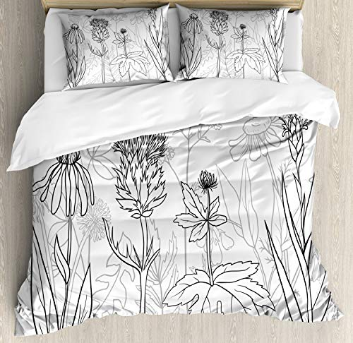 Ambesonne Thistle Duvet Cover Set Queen Size, Botanical and Medical Herbs Pattern as Silhouette Wildflowers Print, Decorative 3 Piece Bedding Set with 2 Pillow Shams, Black White and Pale Grey