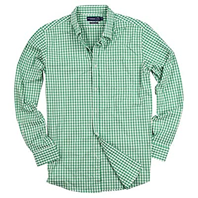 Urban Boundaries Men's Long Sleeve Slim Fit Button Down Stretch Gingham Plaid Casual Shirt